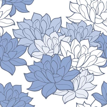 shanti: Stylish lotus flowers seamless background. Floral pattern. Serenity tint ornament.