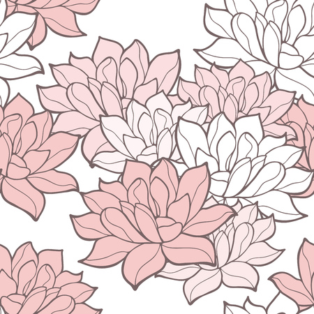Stylish lotus flowers seamless background. Floral pattern. Rose quartz tint ornament.