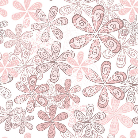 Stylish Flowers Seamless Background. Floral Pattern. Rose Quartz Tint Ornament. Ilustração
