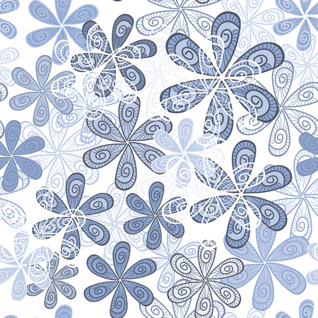 Stylish Flowers Seamless Background. Floral Pattern in pastel colors. Serenity Tint Ornament.