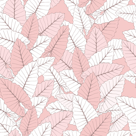 Stylish Foliage Seamless Background. Floral Pattern with exotic leaves. Rose Quartz Tint Ornament.