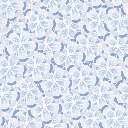 peach: Peach flower blossom seamless ornament. Floral background. Serenity tint pattern.
