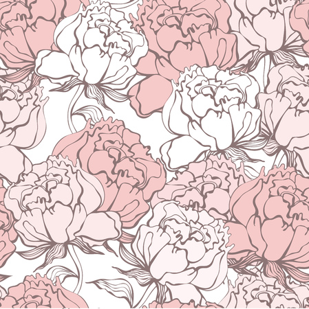 Stylish Rose Flowers Seamless Background. Floral Pattern. Rose Quartz Tint Ornament.