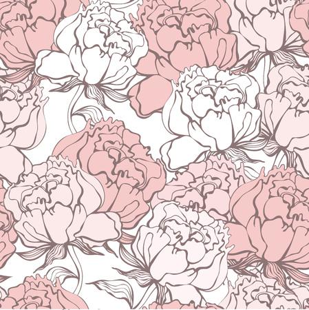 shanti: Stylish Rose Flowers Seamless Background. Floral Pattern. Rose Quartz Tint Ornament.