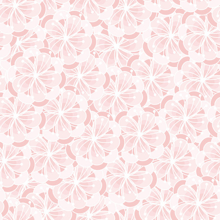 Peach flower blossom seamless ornament. Floral pattern. Rose quartz tint background.