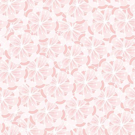 quartz: Peach flower blossom seamless ornament. Floral pattern. Rose quartz tint background.