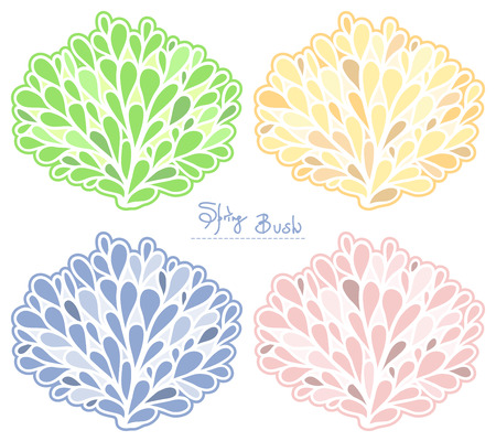 Spring Bush vector collection. Colored silhouette. Stylish emblem set in pastel colors.