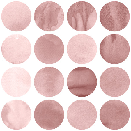 Watercolor circles collection  in pink colors. Watercolor stains set isolated on white background. Rose quartz tint palette. Seamless retro geometric pattern. Banco de Imagens