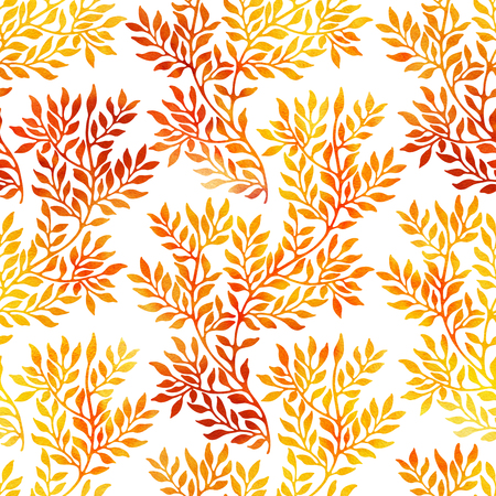Watercolor seamless pattern with autumn branches and leaves on white background. Watercolour floral hand drawn ornament in yellow and red colors. Banco de Imagens - 62434456