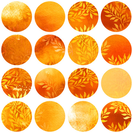 Watercolor autumn circles collection in yellow and orange colors. Watercolor stains set isolated on white background. Watercolour badges with leaves ornament. Seamless floral pattern, wrapping paper.