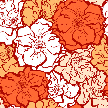 Stylish Rose Flowers ornament in yellow and orange colors. Seamless pattern background. Floral Vector Texture.