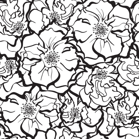 Stylish Rose Flowers ornament in black and white. Seamless pattern background. Floral Vector Texture.