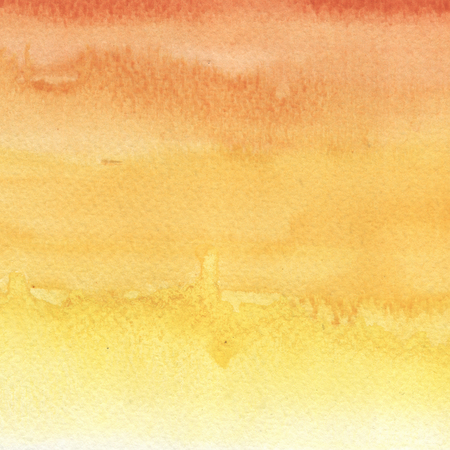 Watercolor hand painted gradient in yellow and orange colors. Abstract Autumn palette background. Banco de Imagens