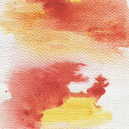 Bright multicolored splash, abstract hand painted illustration. Autumn watercolor background in red and yellow colors.