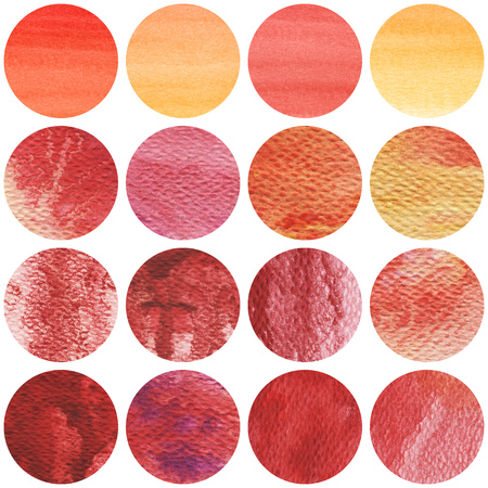 Watercolor circles collection in red and yellow colors. Watercolor stains set isolated on white background. Banco de Imagens