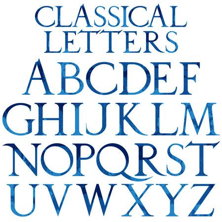 durer: Classical blue watercolor font based on Renaissance sketch. Vintage architectural vector letters.