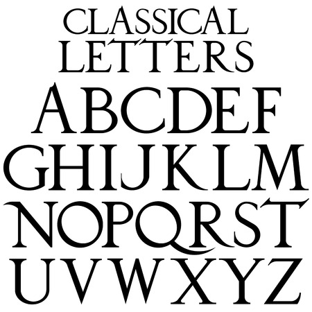 Classical font based on Renaissance sketch. Vintage architectural vector letters. 向量圖像
