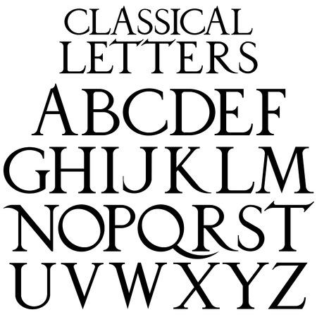 durer: Classical font based on Renaissance sketch. Vintage architectural vector letters. Illustration