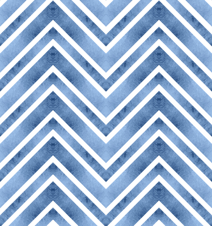 Seamless retro geometric pattern with zigzag lines. Blue chevron stripes. Watercolor background in riverside tint. Banco de Imagens