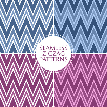 Seamless retro zigzag stripes patterns set. Background collection in trendy colors. Ilustração