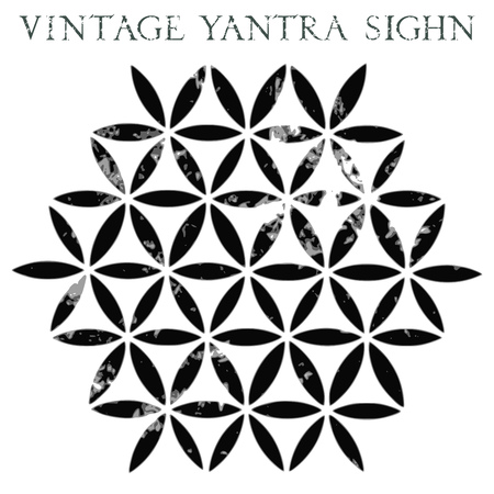 Vintage Yantra sign. Flower of life ornament. Vector grungy illustration isolated on white background. Banco de Imagens - 72635724