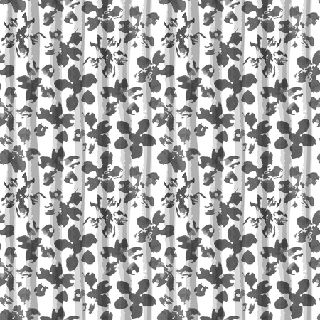 Floral watercolor ornament on geometric striped texture. Seamless black and white pattern. Banco de Imagens - 84545294