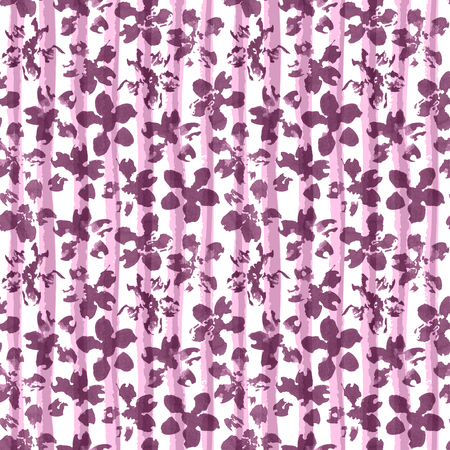 Floral watercolor ornament on geometric striped texture. Seamless pattern, mulberry tint. Watercolour background in trendy color. Banco de Imagens