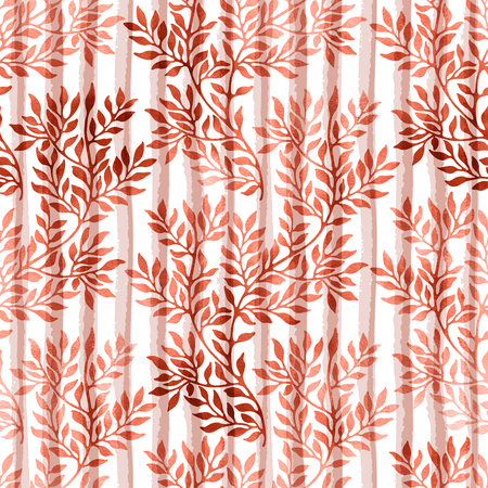 Watercolor seamless pattern with autumn branches and leaves on stripe background. Watercolour floral hand drawn ornament in trendy persimmon color. Banco de Imagens