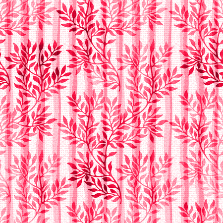Watercolor seamless pattern with autumn branches and leaves on white background. Watercolour floral hand drawn ornament on striped canvas background