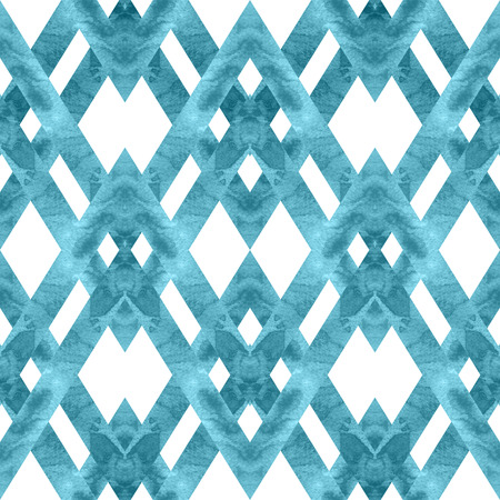 Seamless retro geometric pattern with rhombus lines. Colored watercolor background, trendy milky blue tint. Banco de Imagens