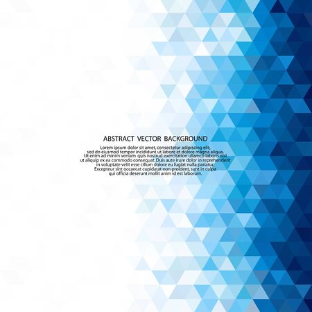Abstract blue polygonal triangles poster.
