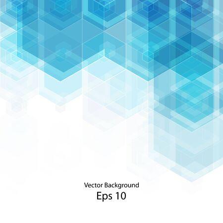Blaue Sechsecke des abstrakten Vektors. Hintergrund für die Präsentation. Vorlage für die Werbung. polygonaler Stil