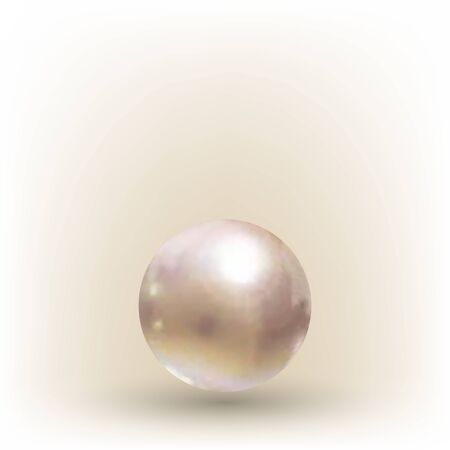 Shiny realistic pearl on transparent background, vector illustration. Иллюстрация