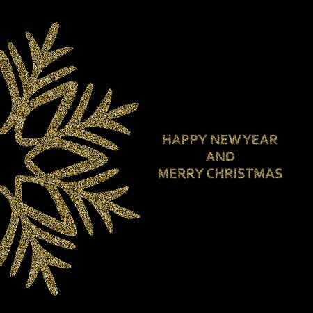 Merry Christmas and Happy New Year greeting poster with glittering snowflake half view, sparkling gold element on golden background raster banner