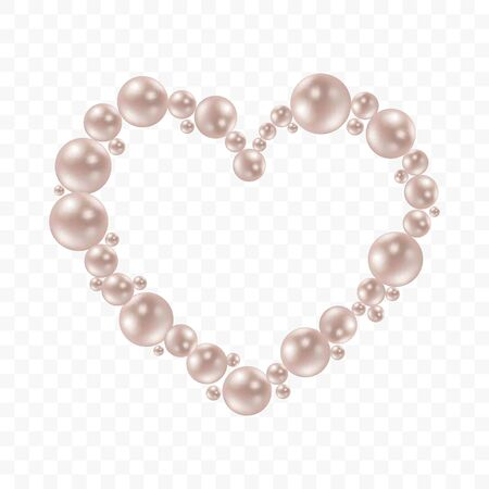 Heart shape frame painting isolated on transparent background. Pearl chains. Realistic white pearls. Beautiful natural heart shaped jewelry. Frame thread of pearls. Pearl necklace. Vector illustration Stock Illustratie