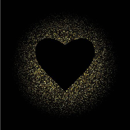 Golden glitter heart frame with space for text. Vector gold dust isolated on white. Great for valentines and mothers day greeting cards, wedding invitations, posters and flyers. Banco de Imagens - 139669879