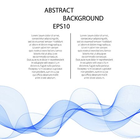 Abstract vector background, blue transparent waved lines. smoke wave.