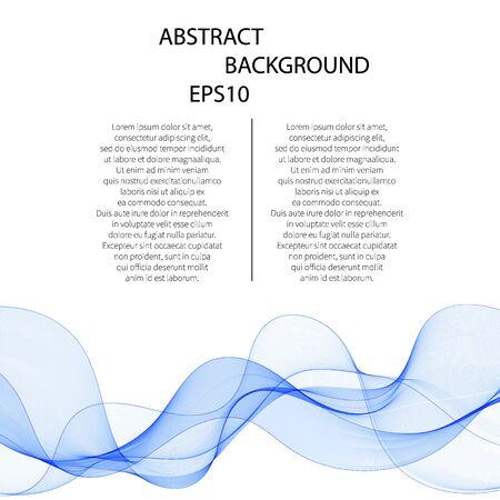 Abstract vector background, lignes ondulées transparentes bleues. vague de fumée.