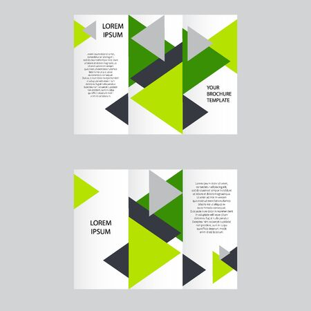 Set of business vectors. Brochure template layout, cover design annual report, magazine, flyer in A4 size with green flying triangles, polygons for science, teamwork. annotation  イラスト・ベクター素材