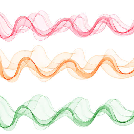 Set of abstract colored waves. Red, pink, blue waves