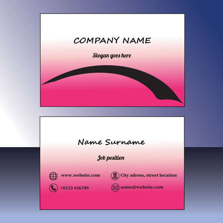 Abstract modern pink business card, vector EPS10 Ilustracja