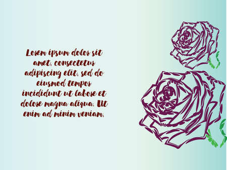 Gift card with purple roses Illustration