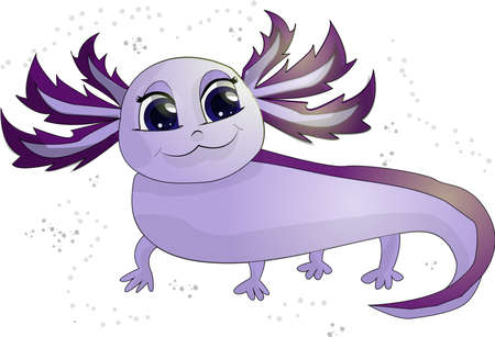 Illustration of a Happy Purple Axolotl vector