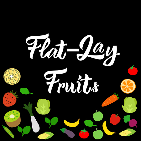 Flat-lay fruits on black background vector EPS10