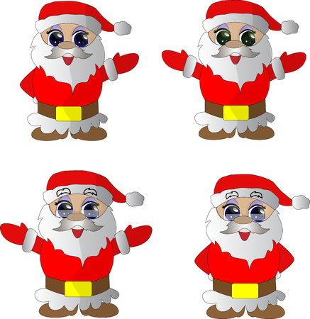 Collection of cartoon Christmas Santa Claus vector