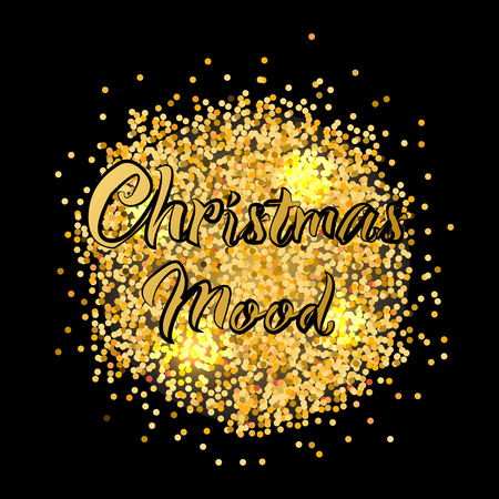 Banner for christmas mood with gold texture. Vector illustration.