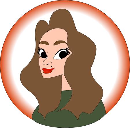 Girl portrait in cartoon style, illustration vector Иллюстрация