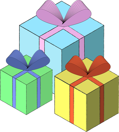 Gift box template vector EPS10 illustrayionFlat isometric illustration on white background.