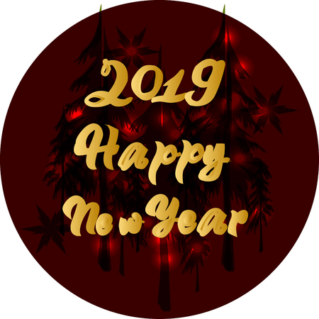 Happy New Year 2019 greeting banner design with typography on red background with gold texture. Vector illustration