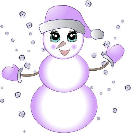 Christmas snowman with snowflakes. Vector illustration